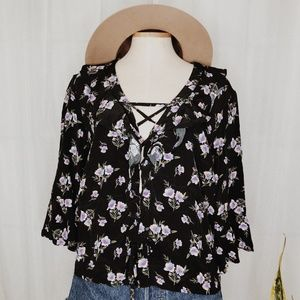 • TOPSHOP • floral lace up ruffle blouse